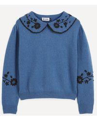 RIXO London Lula Collared Wool Sweater - Blue