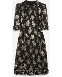 The Vampire's Wife The Cate Floral-jacquard Ruffled Midi-dress - Black