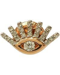 Kismet by Milka - Rose Gold Evil Eye White Diamond Stud Earring - Lyst