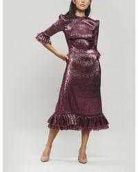 The Vampire's Wife Falconetti Metallic Silk-blend Midi-dress - Purple