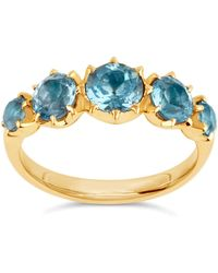 Dinny Hall | Elyhara Gold Tapering Five-stone Aquamarine Ring | Lyst