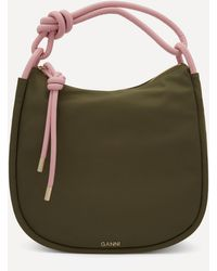 Ganni Recycled Tech Fabric Large Knot Hobo Bag - Green