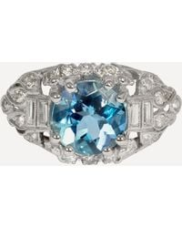 Kojis Platinum Aquamarine And Diamond Art Deco Ring - Metallic