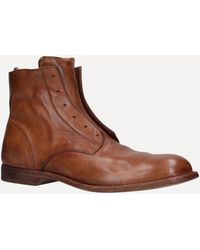 Officine Creative Graphis Laceless Leather Boots - Brown