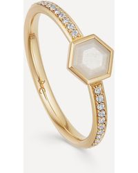 Astley Clarke Gold Plated Vermeil Silver Mini Deco Moonstone And White Sapphire Ring - Metallic