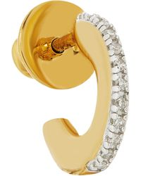 Monica Vinader Gold Vermeil Fiji Small Skinny Diamond Single Hoop Earring - Metallic