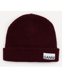 Ganni Recycled Wool-blend Beanie Hat - Red