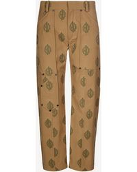 Chloé Logo-jacquard Cropped Trousers - Natural