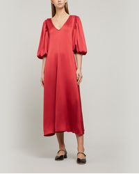 Stine Goya Marlen Sheen Cady Midi-dress - Red