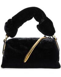 Dries Van Noten Small Padded Velvet Handbag - Black
