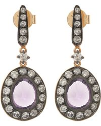 Annoushka - White Gold Grey Pave Dusty Diamond Hoop Earrings - Lyst