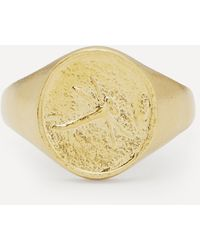 Alex Monroe Gold-plated Dragonfly Fossil Signet Ring - Metallic