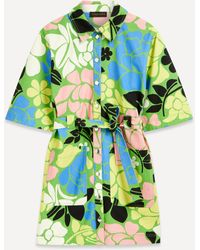 Stine Goya Carli Belted Floral Shirt-dress - Green