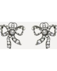 Gucci Silver-tone Crystal Bow Stud Earrings - Metallic