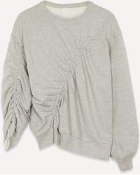 Dries Van Noten Ruched Front Graphic Sweatshirt - Grey