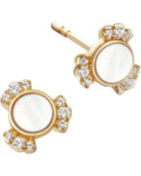 Astley Clarke - Gold Luna Mini Mother Of Pearl Sapphire Stud Earrings - Lyst