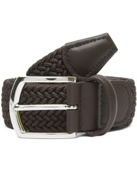 Andersons Leather Trimmed Elasticated Woven Belt - Brown