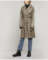 Rains Check Belted Overcoat - Natural
