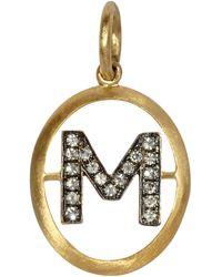 Annoushka 18ct Gold M Diamond Initial Pendant - Metallic