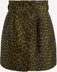 Ganni Leopard Crispy Jacquard Mini-skirt - Green