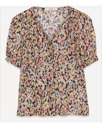 Sessun Greenwish Park Buttoned Silk Shirt - Multicolour
