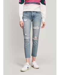 GRLFRND Karolina Ripped High-rise Jeans - Blue