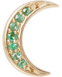 Andrea Fohrman - Gold Emerald Mini Crescent Moon Stud Earring - Lyst