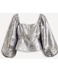 Ganni Shiny Jacquard Puff-sleeve Top - Grey