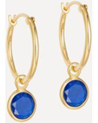 Astley Clarke Gold Plated Vermeil Silver Stilla Drop Lapis Lazuli Hoop Earrings - Metallic