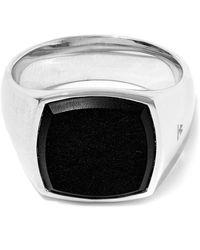 Tom Wood Silver Black Onyx Cushion Ring