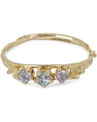 Alex Monroe Gold Rosa Centifolia Sapphire Trilogy Ring - Metallic