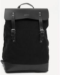 Sandqvist Hege Leather Cotton Canvas Backpack - Black