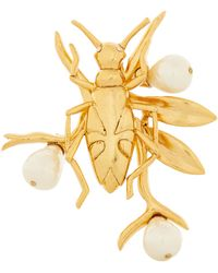 Oscar de la Renta Pearl And Bug Brooch - Metallic