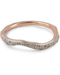 Monica Vinader Rose Gold Plated Vermeil Silver Riva Diamond Wave Stacking Ring - Metallic