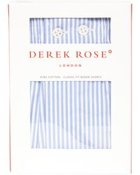 Derek Rose James Classic Stripe Cotton Boxer Shorts - Blue
