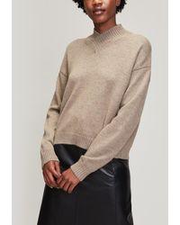 Erika Cavallini Semi Couture High V-neck Alpaca-blend Jumper - Gray