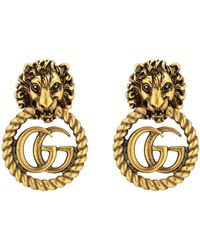 Gucci Gold-tone Lion Head And Double G Clip-on Earrings - Metallic