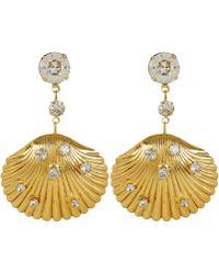 Jennifer Behr - Gold-tone Coquina Crystal Shell Drop Earrings - Lyst