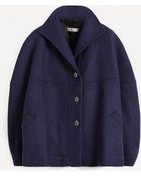 Palmer//Harding Rhesus Twill Cropped Pea Coat - Blue