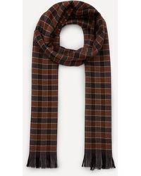 Nick Bronson Gingham Check Wool Scarf - Brown