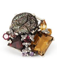 Stephen Dweck Silver Multi-stone Cluster Floral Ring - Metallic