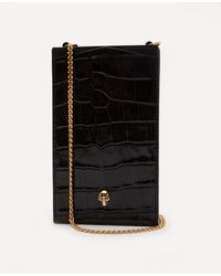 Alexander McQueen Leather Skull Phone Case On Chain - Black