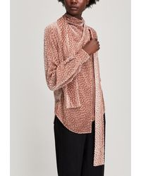Petar Petrov Baxley Flocked Velvet Silk-blend Blouse - Pink