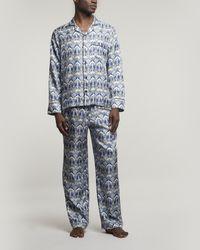Liberty Ianthe Silk Satin Pyjama Set - Blue