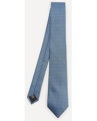 Lanvin Dot Rectangle Woven Silk Tie - Blue