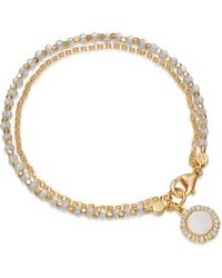 Astley Clarke Gold Plated Vermeil Silver Luna Mother Of Pearl Sapphire And Moonstone Biography Bracelet - Metallic