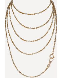 Kojis 18ct Gold Antique Long Pearl Guard Chain Necklace - Metallic
