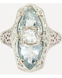 Kojis Gold Art Deco Aquamarine And Diamond Ring - White