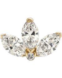 Maria Tash 4mm Diamond Engraved Lotus Threaded Stud Earring - Metallic