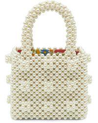 Shrimps X Liberty Mini Faux Pearl Beaded Tote Bag - Multicolor